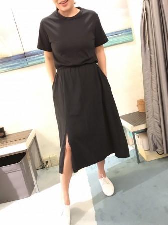 韓國棉質開岔口袋洋裝